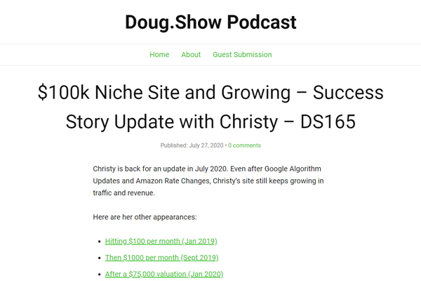 $3000 per Month Niche Site Success Story