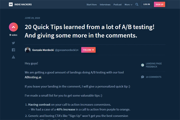 20 Quick Tips learned from a lot of A/B testing!