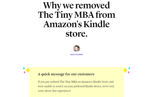 Why we removed The Tiny MBA from the Amazon Kindle store