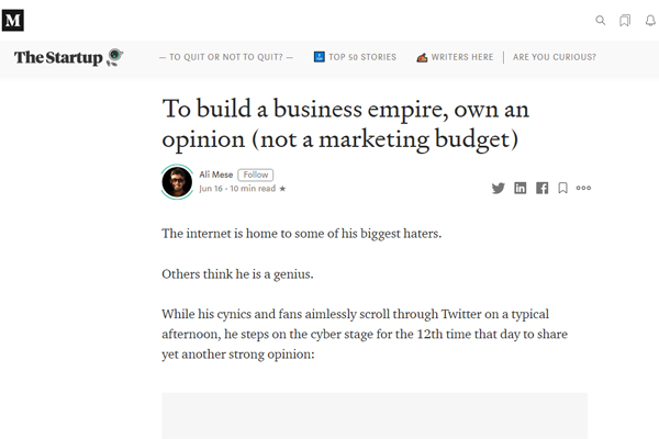 To Build a Business Empire, Own an Opinion (Not a Marketing Budget)