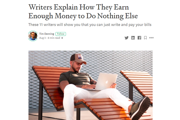 Writers Explain How They Earn Enough Money to Do Nothing Else