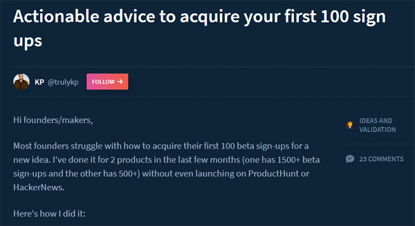 Actionable advice to acquire your first 100 sign ups