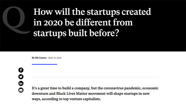 How will the startups created in 2020 be different?