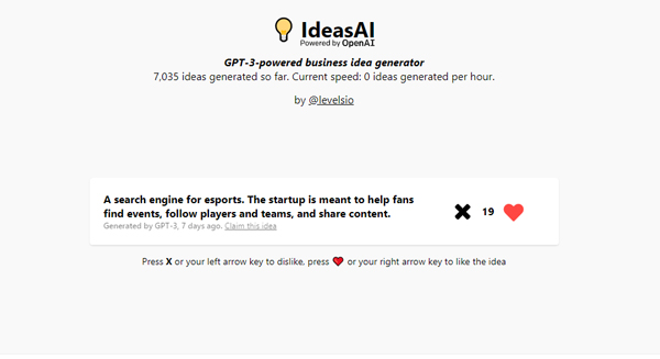 Pieter Levels GPT-3-powered Startup Idea Generator