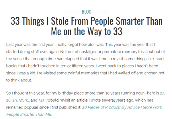 33 Things I Stole From People Smarter Than Me on the Way to 33