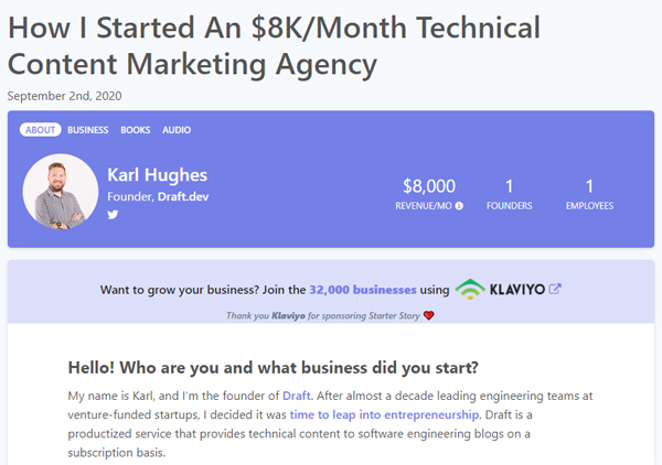 How I Started An $8K/Month Technical Content Marketing Agency