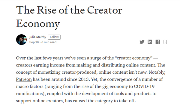 The Rise of the Creator Economy