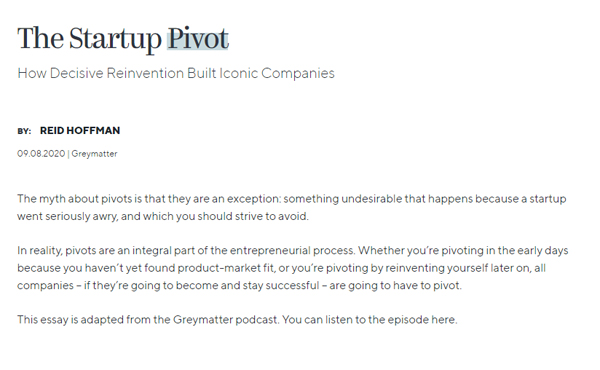 The Startup Pivot by Reid Hoffman