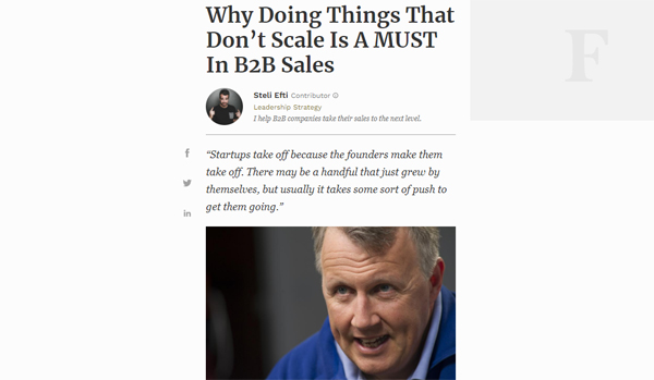 Why Doing Things That Don't Scale Is A MUST In B2B Sales