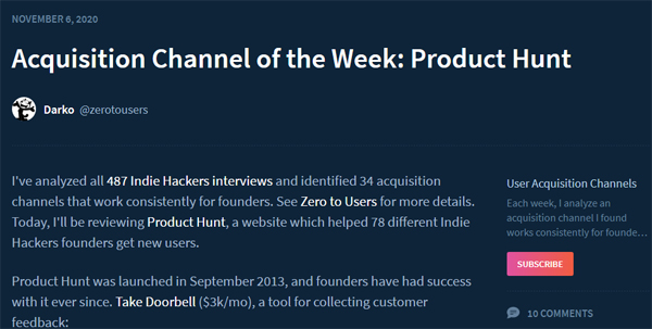 Product Hunt as am Acquisition Channel