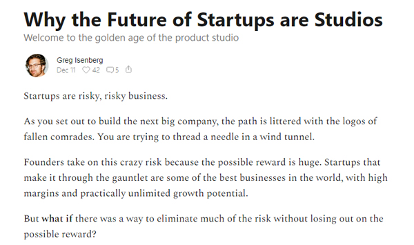 Why the Future of Startups are Studios